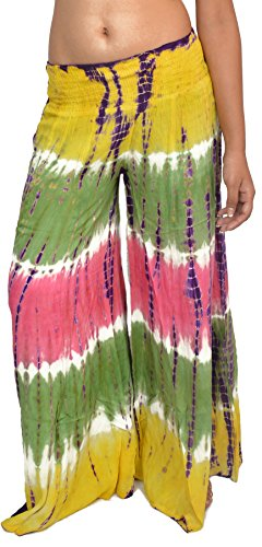 Wevez Women's Pack of 3 Rayon Tie Dye Pants, One Size, Assorted