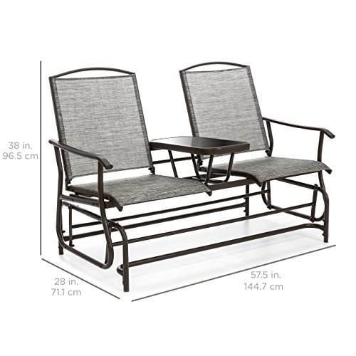 Best Choice Products 2-Person Outdoor Mesh Fabric Patio Double Glider w/Tempered Glass Attached Table (Gray)