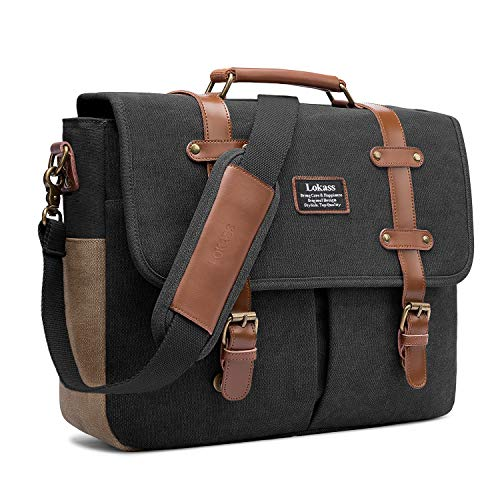Mens Messenger Bag, 15.6 Inch Laptop Shoulder Bag Canvas Genuine Leather Business Briefcase Large Vintage Satchel College Bookbag Retro Brown Leather Handbag Crossbody Bag for Men, Black