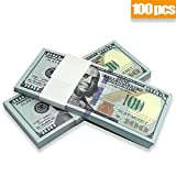 Prop Movie Money, Motion Picture Money, Full Double Side Printed $100 Bills, for Movies, Videos, Education, Fun and Play