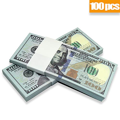 Prop Movie Money, Motion Picture Money, Full Double Side Printed $100 Bills, for Movies, Videos, Education, Fun and Play ()