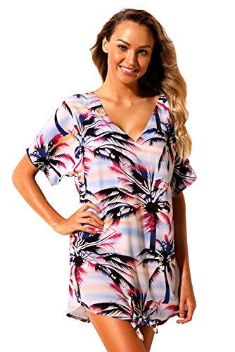 New multicolore Tie know albero di cocco stampato a maniche corte, collo a V Beach cover-up bikini Swimsuit Swimwear estivo taglia UK 12EU 40