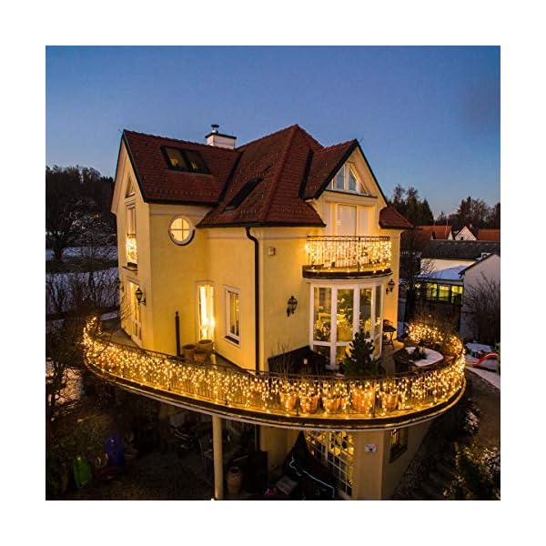 Cascata di Luci ECOWHO 440 LED Tenda Luminosa Bianco Caldo e Bianco Freddo,12x0,8m Luci di Natale 9 Modalità con telecomando, Catena Luminosa esterno per Natale patio Giardino Matrimonio 6 spesavip