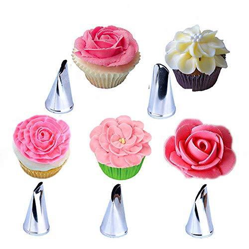 BLUGUL Rose Piping Nozzle, 10 stks Piping Tips, Bloem Gebak Cake Cupcake DIY Decorating Tool, Rose