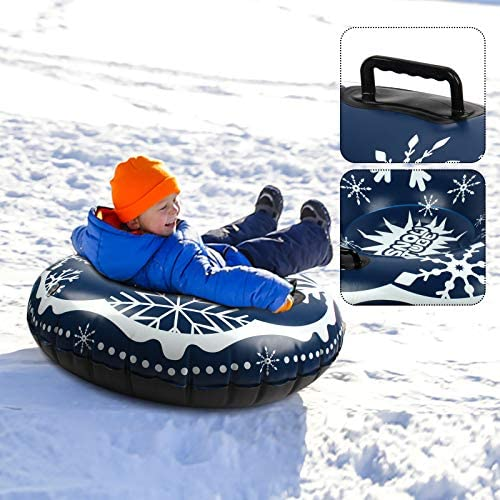 SUNYPLAY Snow Tube for Winter Fun, Inflatable 47 Inch Heavy Duty Snow Sleds for Youngsters and Adults