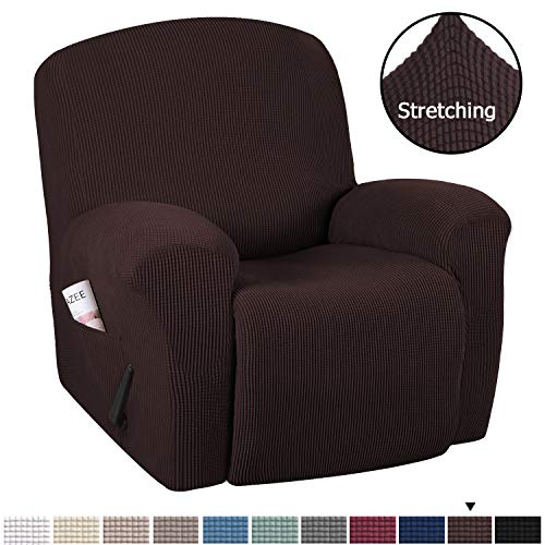 H.VERSAILTEX Stretch Recliner Slipcovers 1-Piece Durable Soft High Stretch Jacquard Sofa Furniture Cover Form Fit Stretch Stylish Recliner Cover/Protector (Recliner, Chocolate)