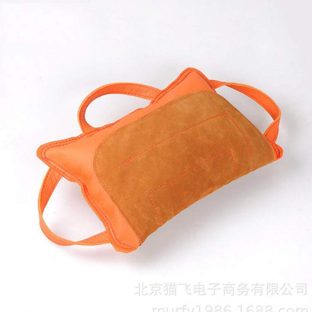 orange Pet PU Leather bite Pillow Dog Bite Arm Predection Sleeve with 3 Handles Durable Training Biting Tug Toy for Medium Large Dogs,orange