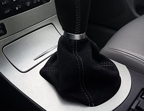 RedlineGoods Shift Boot Compatible with Honda Accord 2008-12 Black Leather-Silver Thread