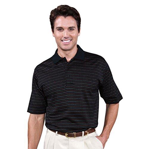 Monterey Club Mens Short Sleeve Pima Cotton Shirt #1272 (Black/Passion fruit, Large)