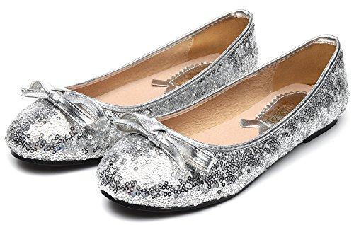 Donne Odema Paillettes Scarpe Da Sposa Piatto Scarpe Da Balletto Piatto Vestito Da Partito Argento