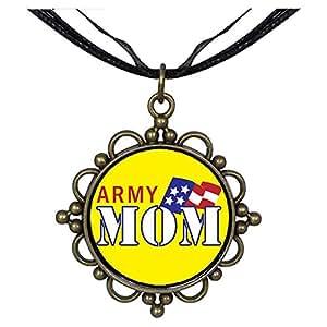 Chicforest Bronze Retro Style American Army Mom Round Flower Pendant