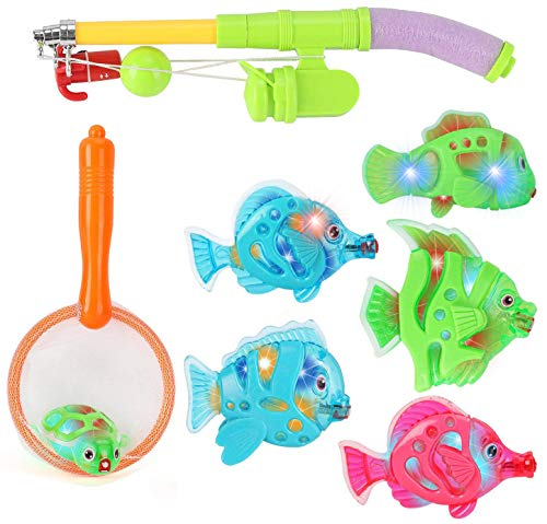 Toddler toys Magnetic Light Up Fishing Bath Toy Set for Kids