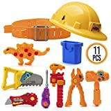 Prextex Dinosaur Themed Kids Tool Belt with Adjustable Children's Carpentry Construction Yellow Hard Hat Dinosaur Toys