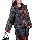 YESNO TS9 Women Warm Winter Outfits Sets Short Hooded Quilted Jacket plus Flannel Lined Pants Chinese Traditional Qipao Frogs (One Size, Sets Cr)