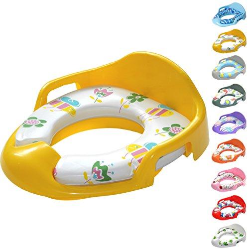 Kinder WC Sitz, Toilettentrainer, gepolsterte Sitzfläche, seitliche Haltegriffe, mit Spritzschutz, leicht zu reinigen (Gelb)