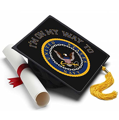 Tassel Toppers Navy - - Graduation Caps for Future Navy Recruits - Decorated Grad Caps (On My Way)