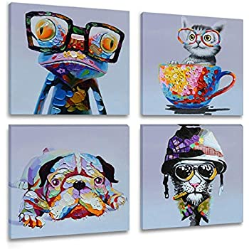 Inzlove Animal Canvas Wall Art Print Oil Painting Frog Pictures Cartoon Pet Portrait Artwork for Kids Room Decor