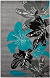 """SUMMIT BY WHITE MOUNTAIN Summit D2-SR33-YPJF 36 New Grey Torquoise Area Rug Modern Abstract Many Available, 5'X7′ ACTUAL SIZE IS 4′.10 X 7′.2"""" For Sale"""
