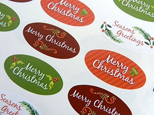 Pack of 48 Merry, Happy Christmas Oval Stickers, Colourful Envelope Seals Labels for Cards, Festive Craft and Decoration (Christmas Envelope Labels)