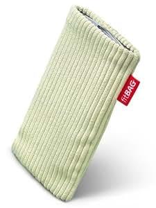 Pistachio Retro fitBAG-Funda con pestaña para Vodafone 736. de terciopelo acanalado con forro de microfibra para limpieza de pantalla