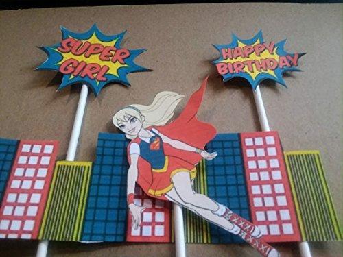 Super Girl Cake Topper set 2 pcs. handmade-graphics