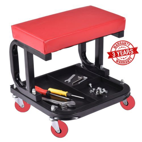 Omni Preminum Heavy Duty Mechanic Rolling Seat Stool Chair Repair Tools Tray Shop Auto Car Garage, w/ 225 lbs Capacity Omni Unviersal Products