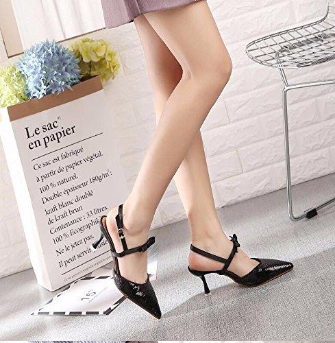 Un Todos Con Coinciden Primavera En Bien GTVERNH Zapatos La Coinciden Zapatos Tacones Sandalias Altos Todos La silvery Poco Boca CqtBp1