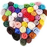 OPount Set of 45 Colors Wool Roving Wool Fibre Yarn Roving DIY Craft Materials