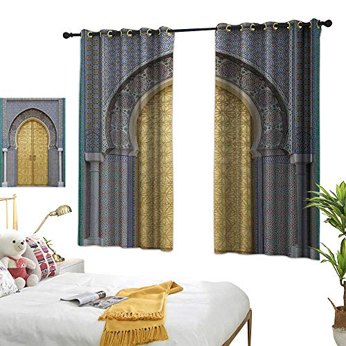 LsWOW Bedroom Curtains W55 x L72 Moroccan,Antique Doors Morocco Gold Doorknob Ornamental Carved Intricate Artistic, Yellow Teal Blue Blackout Window Curtain