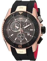 Technomarine Mens UF6 Quartz Gold and Silicone Casual Watch, Color:Black (Model: TM-616005)