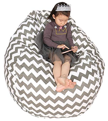 Adult Animal Bean Bag - Great Eagle 40 x 48 Inches Extra Large|Huge|Gigantic 100% Organic Cotton Canvas Kids Stuffed Animals Toys Storage Bean Bag Chair Cover for Kids, Toddlers ,Teens and Adults (Chevron Gray)