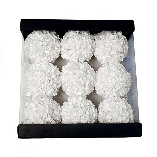 9pcs 3.5'' Artificial Rose Satin Flower Foam Balls for Bridal Wedding Centerpiece Party Ceremony Decoration (White) ()