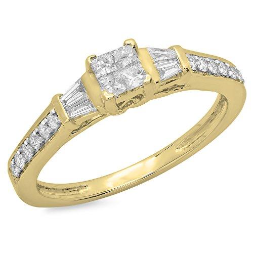 (Dazzlingrock Collection 0.50 Carat (ctw) 14K Princess, Baguette & Round Diamond Engagement Ring 1/2 CT, Yellow Gold, Size 6)