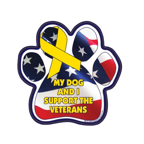 My Dog and I Support the Veterans Paw Magnet
