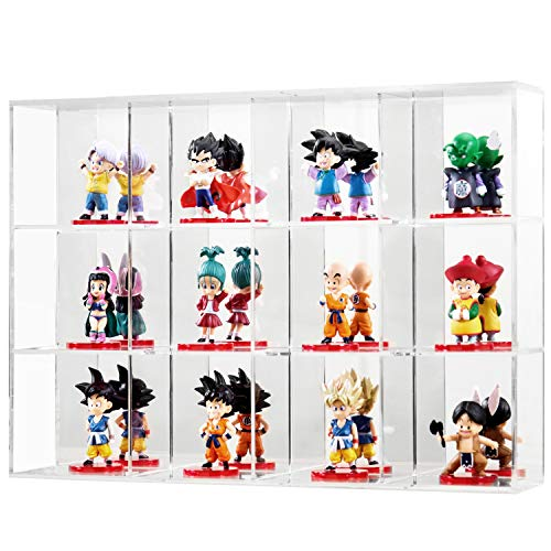MyGift 12-Slot Wall Mounted Clear Acrylic Storage Rack/Mirror Backed Display Case for Collectible Figurines