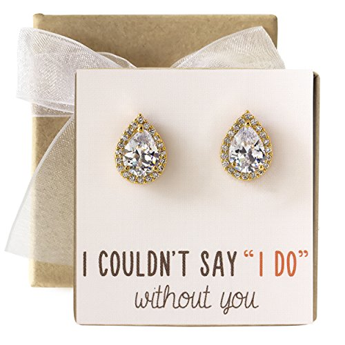 - Cubic Zirconia Bridesmaid Stud Earrings, Bridal Party Gift