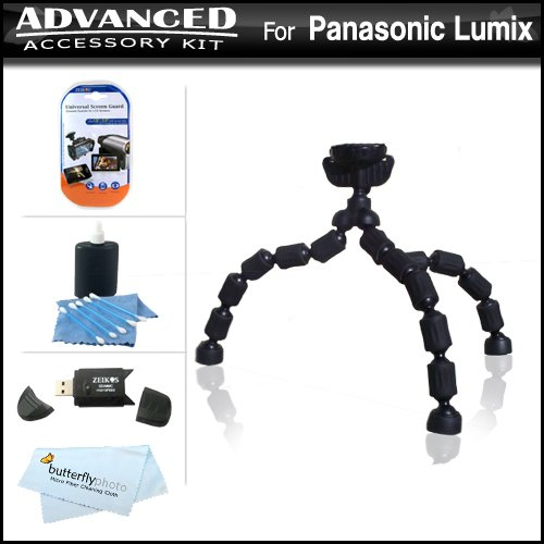 (Flexible Tripod Accessory Kit For Panasonic Lumix DMC-GH2 DMC-G10, DMC-G1, DMC-G2, DMC-GF2, DMC-G3, DMC-GF3 Digital Camera Includes USB 2.0 High Speed Reader + LCD Screen Protectors + Gripster Tripod + MicroFiber Cloth + More)
