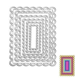 Bottone Metal Cutting Dies Stencil Template Mould for DIY Scrapbook Album Paper Card Craft Decoration New(Lace Ractangle)