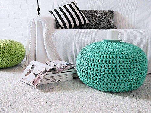 Aqua Turquoise Crochet Pouf Ottoman Footstool - Round Chunky Floor Pillow