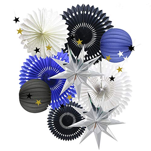 Hanging Party Decoration Supplies Set of Tissue Paper Fans Star Garland Paper Lanterns for Graduation Wedding Anniversary Birthday Backdrop Decoration (Navy Blue White Black)