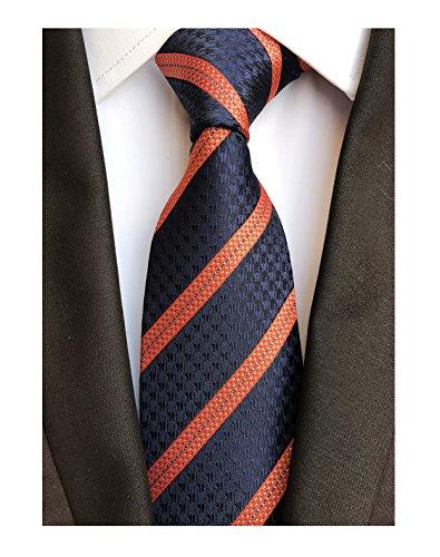 Collegiate Weekly - Mens Navy Blue Orange Stripe Tie Spring Seft Poly Woven Party Cool Necktie 3.15