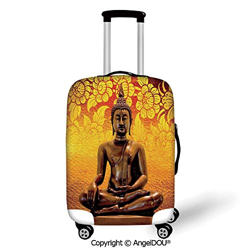 (AngelDOU Fashion Elastic Fabric Luggage Protective Cover Asian Decor Antique Sculpture Sitting on Floor Floral Background Asian Oriental Pure Calm Home Orange Bronze Suitable18-28 Inch Trolley Case S)
