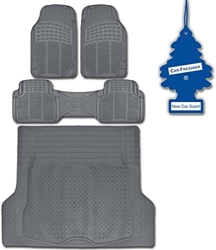 All Weather Gray Ridged Trimmable BDK Front-Rear-Cargo HD Diamond Rubber Mats 4 pieces + Newcar