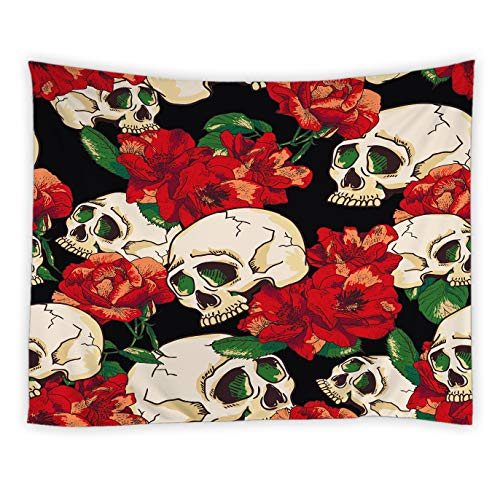 jingjiji Halloween Tapestry Sugar Skull Watercolor Red Peony Flower Rose Abstract Hippie Wall Hanging Tapestries Decor Bedroom Living Room Dorm Polyester Fabric 60 x 51 Inch Black White