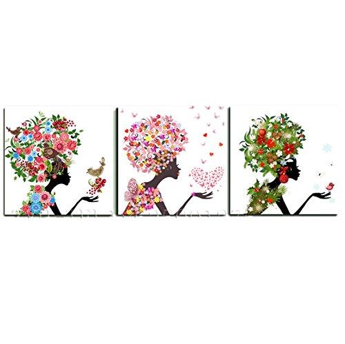 壁掛け アートパネル 【AP010 花の妖精2 80×80㎝×3パネルセット】12㎜キャンバス 印刷布製 キャンバスアート 壁飾り B07DCP26HP 20748