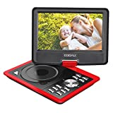 COOAU 11.5'' Portable DVD Player with 5 Hour Rechargeable Battery, Game Joystick, 9.5'' Swivel Screen, Support USB Port and SD Card, Region Free, Red