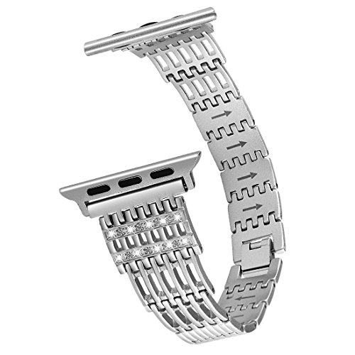 Moonooda Metal Watch Band Strap Wristband 38MM 40MM 42MM 44MM Women Compatible with iWatch Series 4/3 /2/1, Silver