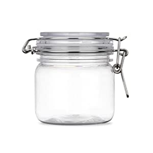 2Pcs 10 Oz/300ml Clear Round Plastic Home Kitchen Storage Sealed Jar Bottles with Leak Proof Rubber and Hinged Lid for Herbs, Spices, Candy, Gift, Arts and Crafts Storage Multi-purpose Container
