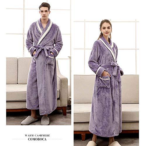 Otoño Male Y Franela Female Moradas E Baño color A Invierno Albornoces Xl Batas Huifa De Pijamas Purple Rosadas Largos Cálidas Tamaño Gruesos q18xngw