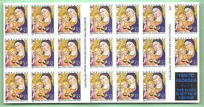Postage Stamp Scott 3176 1997 Madonna and Child booklet pane of 20 P.O. Fresh